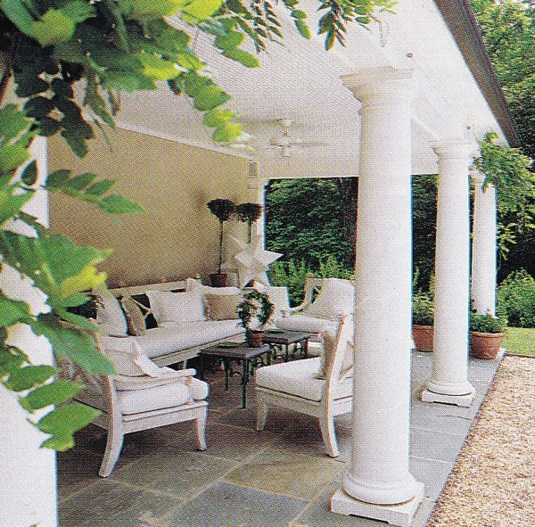 Another loggia by the late great Antony Childs includes the designer's furniture designs for Niermann Weeks. Photo by William Waldron for HG.