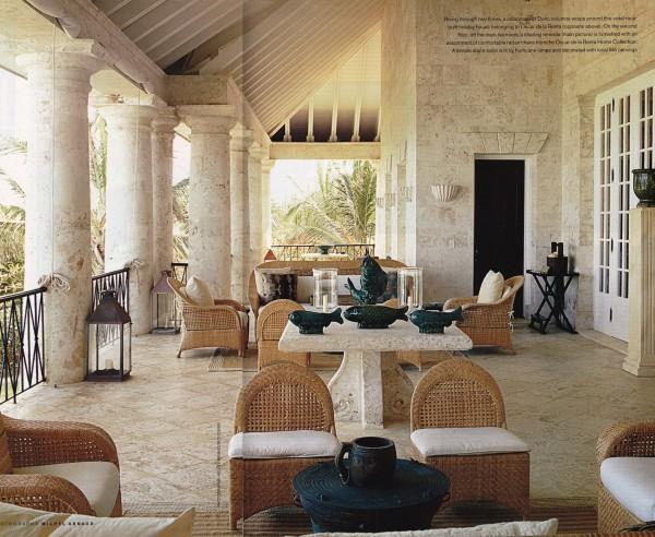 The coral stone enveloped veranda at Oscar de la Renta's Palladian-style villa in Punta Cana. Photo by Michel Arnaud for British House & Garden.