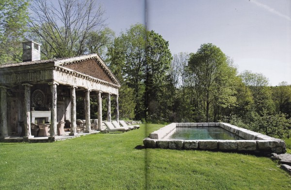 The Greek Revival log constructed pool house of Bunny Williams and John Rosselli at their Falls Village country house. Photo by Tim Street-Porter.