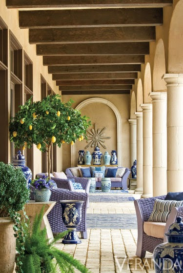 Michelle Nussbaumer enlivened a loggia with shots of inky blue. Photo by Peter Vitale.