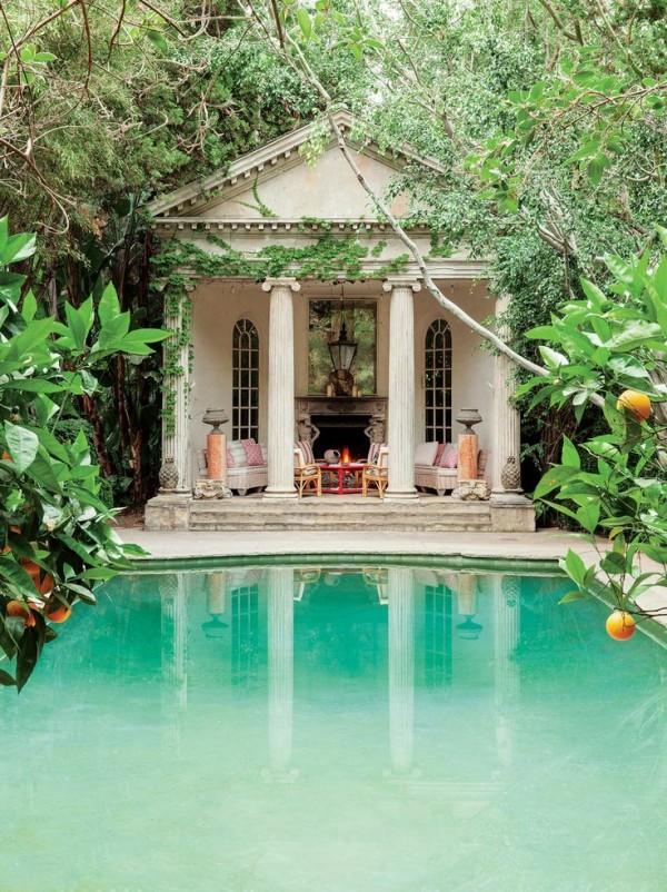 A Greek-revival-style pavilion overlooks the pool at Richard Shapiro's Los Angeles home. Photo by Lisa Romerein for C Magazine.