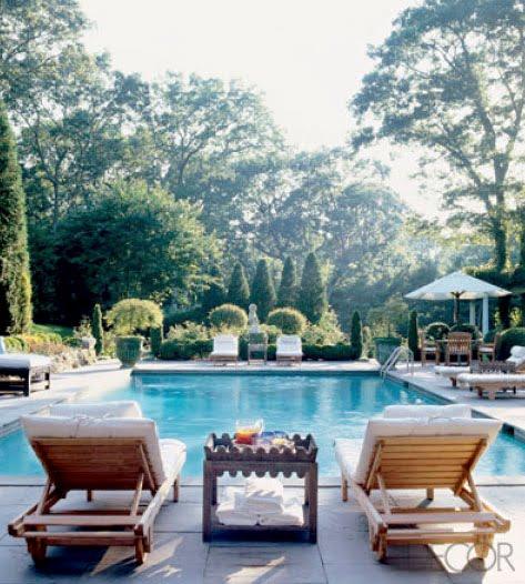 The bucolic setting of Charlotte Moss's Hamtons home. Photo via Elle Decor.
