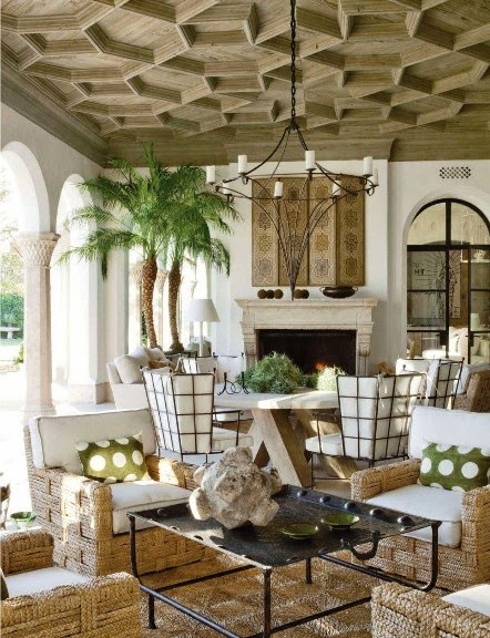 Richard Hallberg infused the loggia of this dessert home with Spanish and Moroccan design that is at once exotic and modern. Photo by Miguel Flores-Vianna for Veranda.