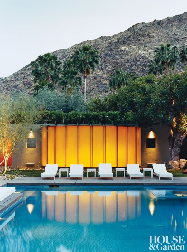 Lit from within, the fiberglass-paneled pavilion on a Palm Springs, California, property glows like a lantern, creating dramatic reflections in the pool. Photo by Marc Ware.