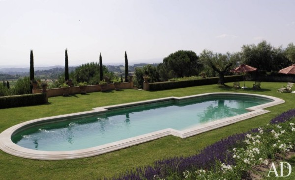 At Villa Palagio, Sting and Trudie Styler's farm in Tuscany, the pool, installed by a previous owner, overlooks the Valdarno Superiore valley. Photo by Giancarlo Gardin.
