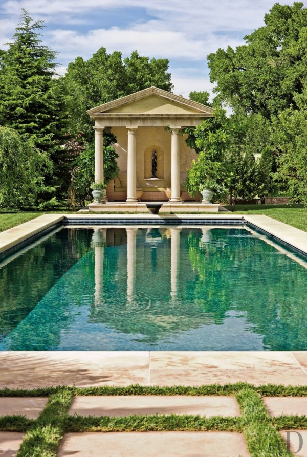 Siri Hari Kaur Angleton-Khalsa, working with landscape architect Edith Katz, planned the swimming pool and its surroundings for her estate in New Mexico. Photo by Robert Reck.
