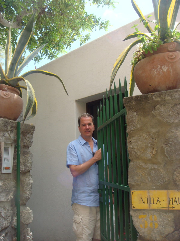 My partner, Michael, welcomes guests to Villa Maura.
