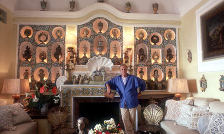 Franco Zeffirelli photographed in one of Villa Tre Ville's salons sometime in the 1980's.