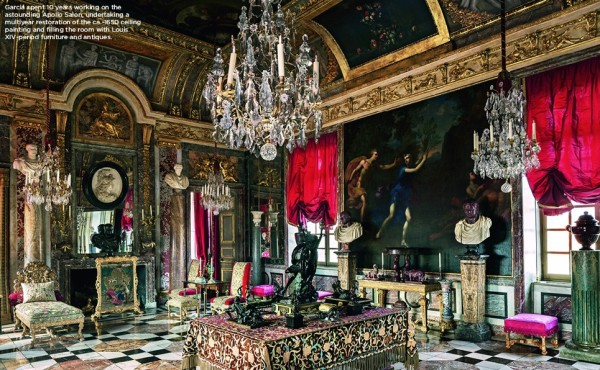 Garcia spent ten years working on the glorious Apollo Salon, restoring the ca. 1650 ceiling and filling the space with Louis XV period furniture and antiques.