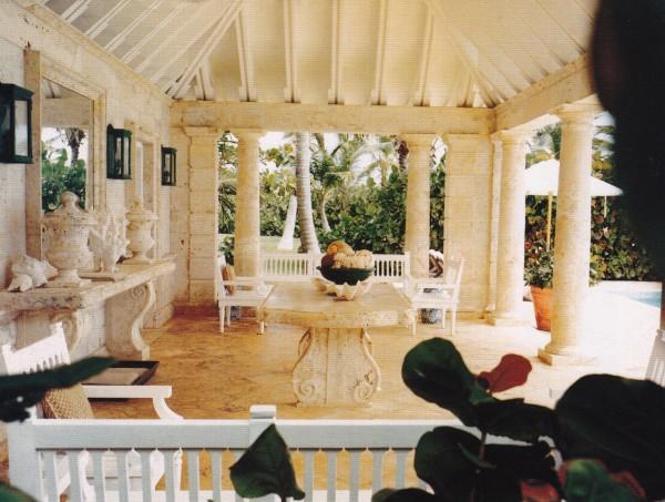 The de la Renta's coral stone pool pavilion. Photo by François Halard for Vogue.