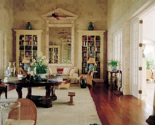 The great room at the de la Renta's villa combines Palladian influences and Oscar's love of the Orient. Photo by François Halard for Vogue..