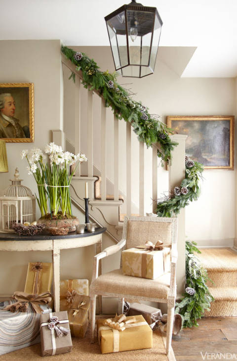 European traditional holiday decor for a home in Connecticut.