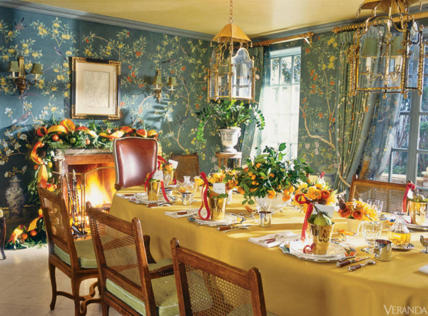 Charlotte Moss introduced a lively mix of festive holiday decor to the dining room in her New York townhouse.