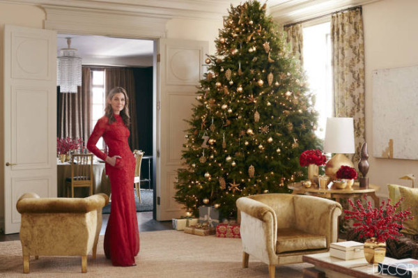 Aerin Lauder posing in the living room of her Manhattan apartment decorated by Jacques Grange.