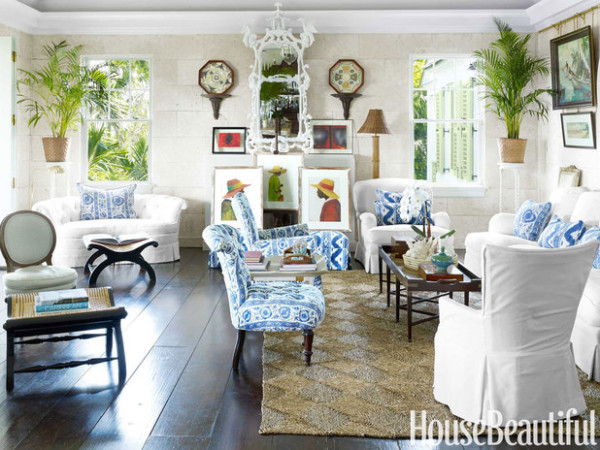 The living room in Amanda Lindroth's plantation-style home at Lyford Cay in the Bahamas. Photo by Bjorn Wallander.