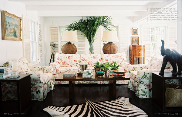 The British Colonial-style living room in Designer David Flint's Harbour Island retreat. Photo by Patrick Cline for Lonny.
