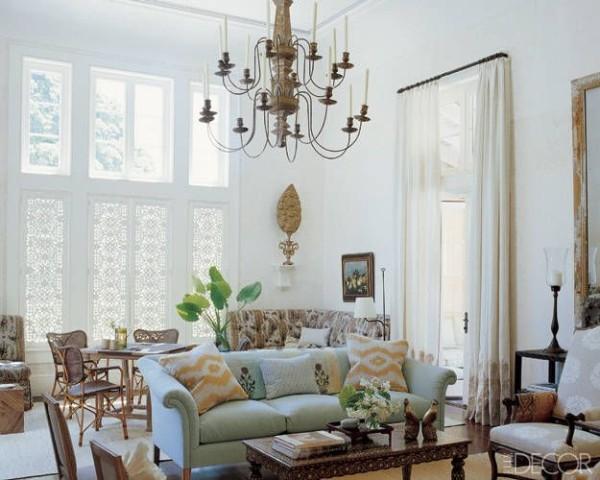 A living room designed by Tom Scheerer on Florida's Jupiter Island. Photo by William Waldron.