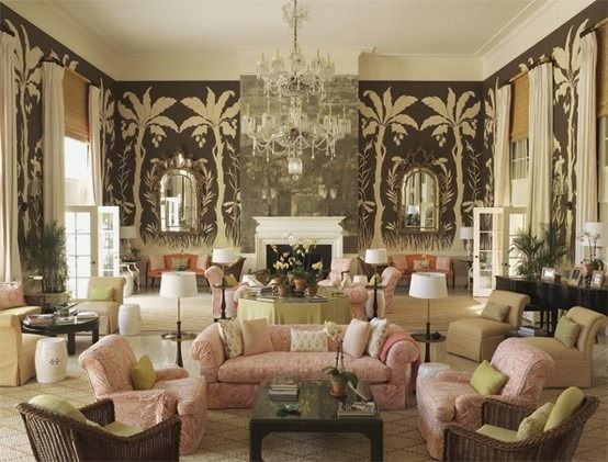 The main drawing room of the Lyford Cay Club House in the Bahamas, decorated by Tom Scheerer.