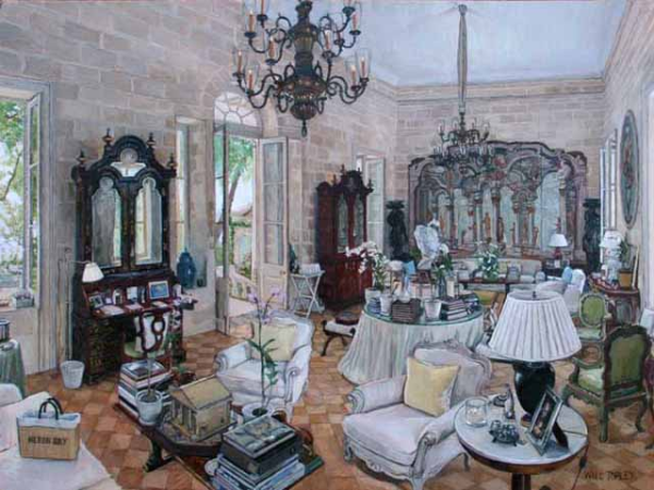 A rendering of the Morning Room at Heron Bay by Will Topley. Via The Devoted Classicist.
