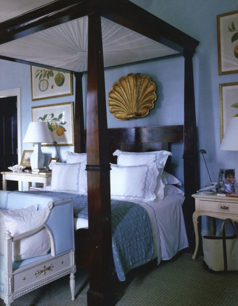 A bedroom in Bunny Williams and John Rosselli's Punta Cana Villa. Photo by Fritz van der Schulenberg for Town & Country.