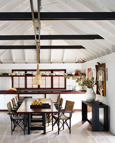 The dining room in Liagre's beach house. Photo by William Abranowicz.
