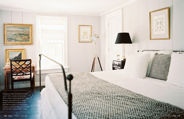 Black accents warm Flint's cool gray bedroom. Photo by Patrick Cline for Lonny.