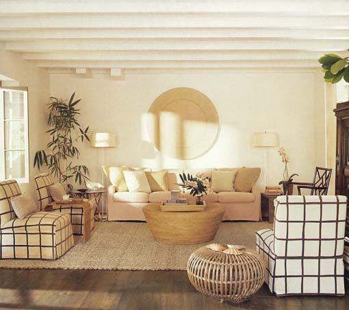 The living room of Tom Scheerer's bungalow in the Bahamas featured in Elle Decor.