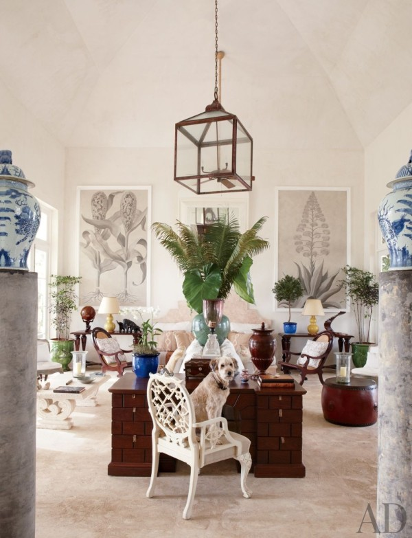 The living area in Genevieve Faure's Palladian-style villa in the Dominican Republic. Photo by Oberto Gili.