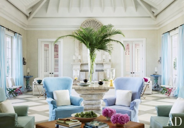 John Stefanidis accented the great room of a Windsor, Florida, home with sorbet colors. Photo by Miguel Flores-Vianna.