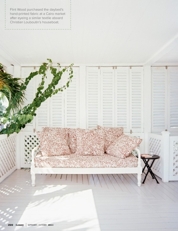 Flint covered the daybed on the sleeping porch with a hand-printed fabric he found at a Cairo market. Photo by Patrick Cline for Lonny.