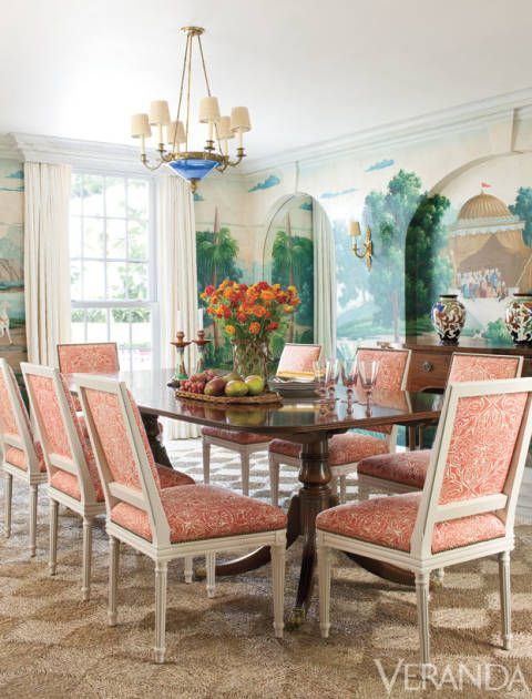 The dining room designed by Andrew Raquet for the Lyford Cay villa. From Veranda.