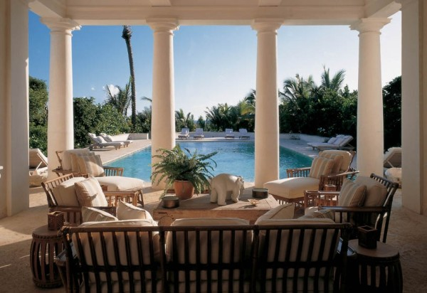 Bunny William's veranda overlooking the pool. Photo by Fritz von der Schulenberg for Town & Country.