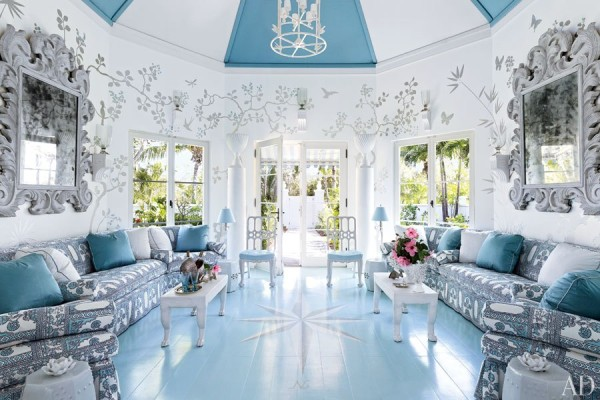 The exuberant entrance-cum-lounge at Pineapple Hill, a private retreat at Lyford Cay Club in the Bahamas decorated by Miles Redd. Photo by Bjorn Wallander.