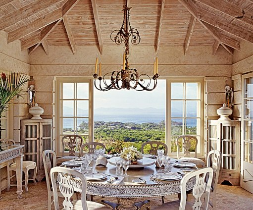 The airy dining pavilion is soothing in its singularity of bleached woods. Photo by Tim Beddow for Architectural Digest.