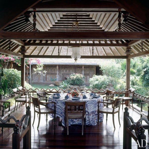 The teak dining pavilion at David Bowie's retreat is an adaptation of those used in the palaces of Java. Photo by Derry Moore for Architectural Digest.