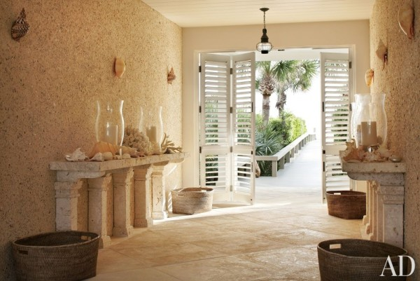 The grotto-style entrance of a plantation-style home in Windsor, Florida, designed by John Stefanidis. Photo from John Stefanidis on-line.