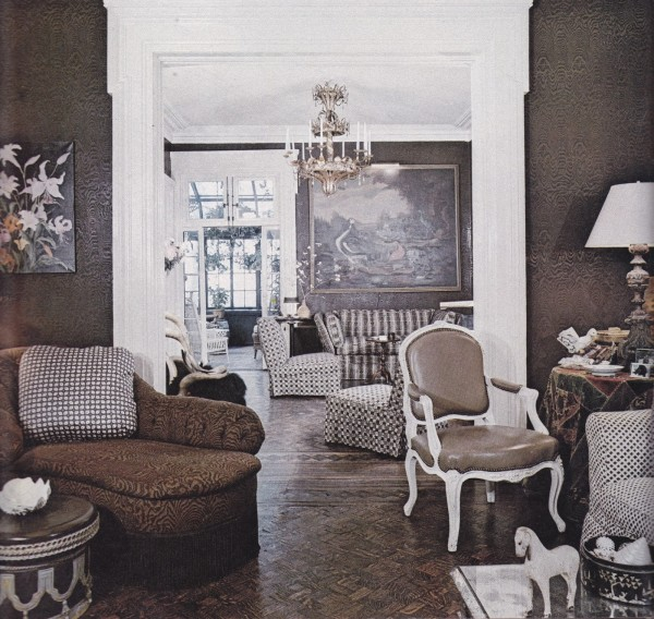 A brown-and-white scheme for a Manhattan townhouse by Thomas Morrow sometime in teh 1970's. Photo by Richard Champion.