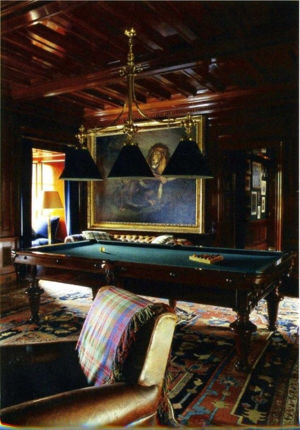 The billiard room in Ralph Lauren's Bedford residence.