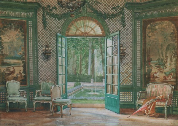 Elsie de Wolfe-Music Pavilion-Villa Trianon-watercolor by Scot William Bruce Ellis Ranken