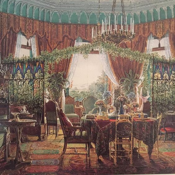 Howard Slatkin-watercolor of Russian dining room in dacha-1900's